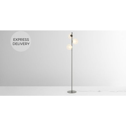 Globe Floor Lamp, Black Nickel And Frosted Glass