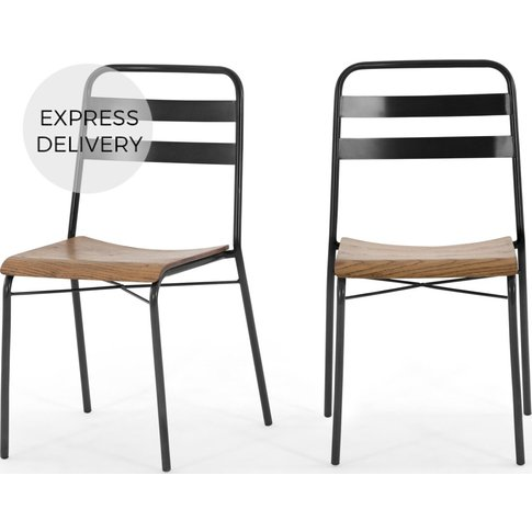 Set Of 2 Wigbert Dining Chairs, Pine And Black