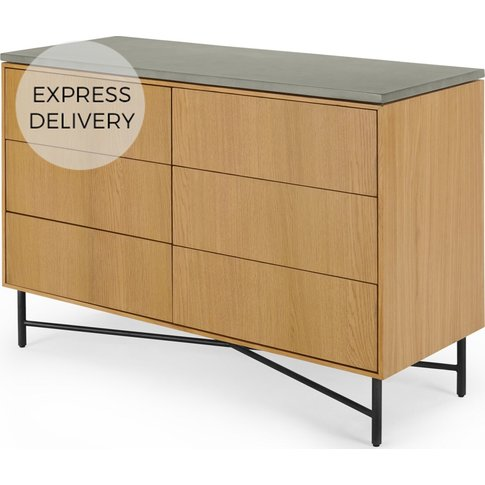 Dara Wide Chest of Drawers, Oak & Concrete