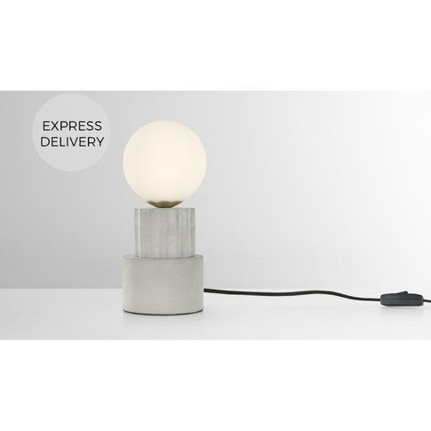 Skasen Table Lamp, Concrete And Brass