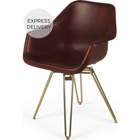 Hektor Tub Office Chair, Oxblood and Brass