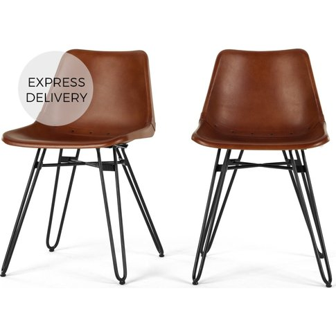 Set Of 2 Kendal Dining Chairs, Tan And Black