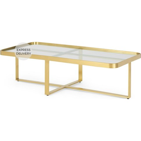 Aula Rectangular Coffee Table, Brushed Brass & Glass