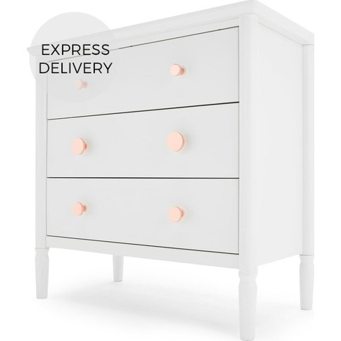 Hansel Chest Of Drawers, White And Copper