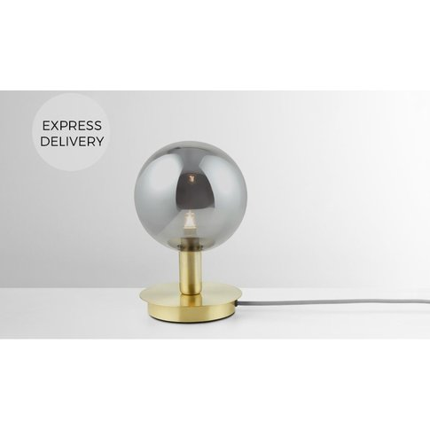 Boll Table Lamp, Brass & Smoked Glass