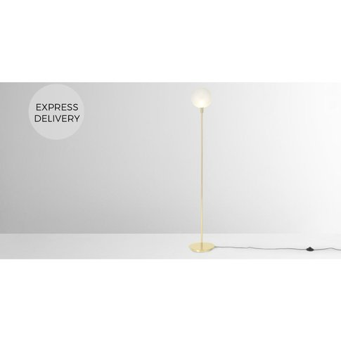 Boll Floor Lamp, Brass & Frosted Glass