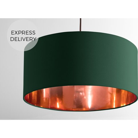 Oro Pendant Drum Lamp Shade, Green And Copper