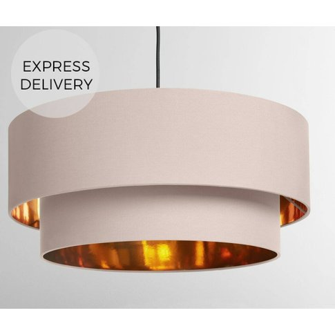 Oro Pendant Drum Lamp Shade Layered, Pink & Copper
