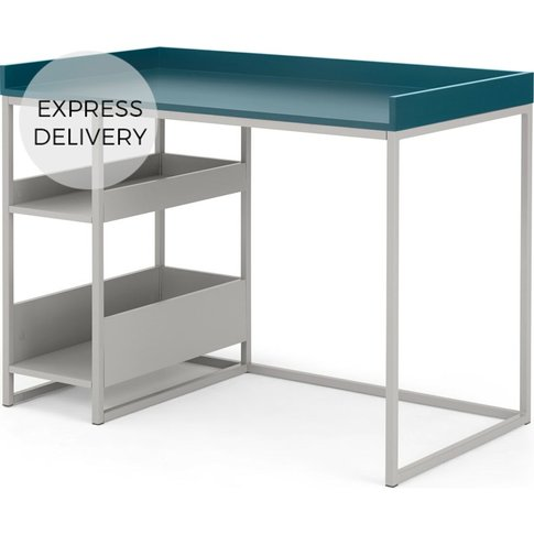 Made Essentials Yumi Desk, Grey And Blue