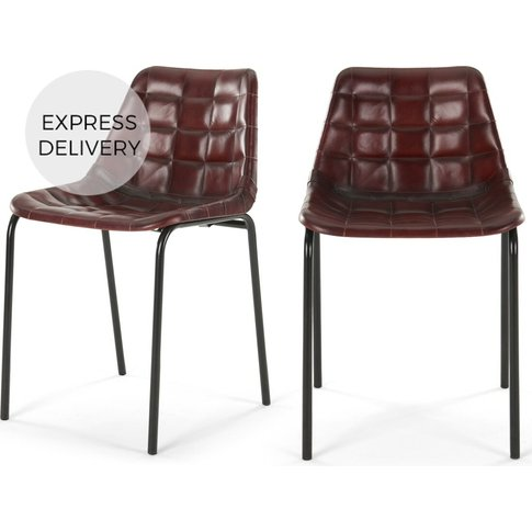 Set Of 2 Sudel Dining Chairs, Ox Red Leather