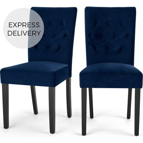 Set Of 2 Flynn Dining Chairs, Royal Blue Velvet