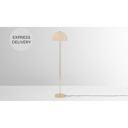 Collet Dome Floor Lamp, Brass & Opal Glass