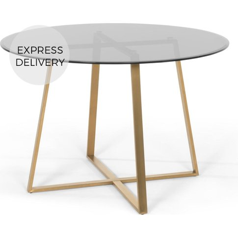 Haku 4 Seat Round Large  Dining Table, Brass And Smo...
