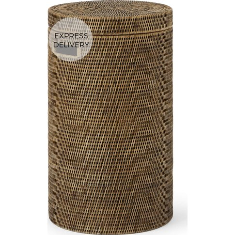 Hadid Hand Woven Rattan Laundry Basket, Honey