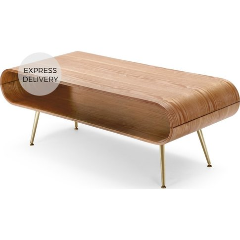 Hooper Storage Coffee Table, Ash And Brass