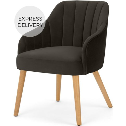 Boltan Dining Chair, Grey Velvet And Light Wood Legs