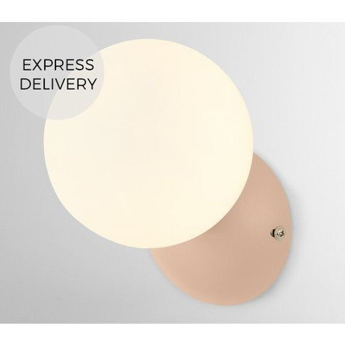 Vetro Wall Light, Dusty Nude Pink and Opal Glass