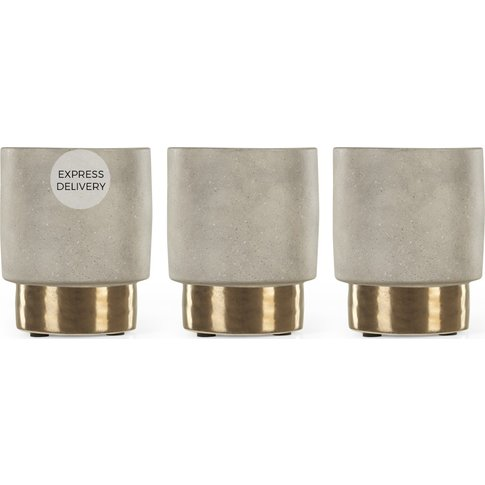 Zelkova 3 Set Small Concrete Planters, Grey And Brass