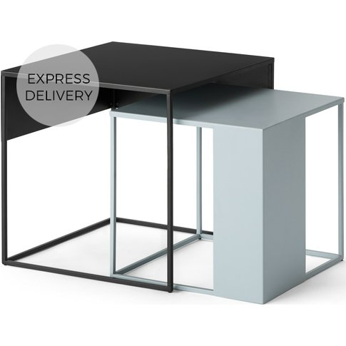 Made Essentials Emira Nesting Side Tables, Tonal Grey