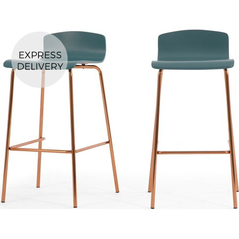 Set of 2 Syrus Barstools, Teal and Copper