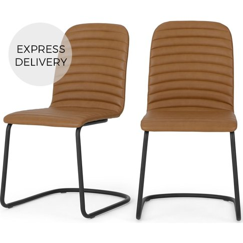 Set of 2 Cata Cantilever Dining Chairs, Tan PU