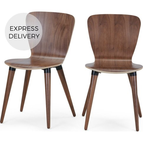 Set Of 2 Edelweiss Dining Chairs, Walnut And Black