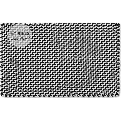 Indy Woven Doormat 50 x 80cm, Black and White