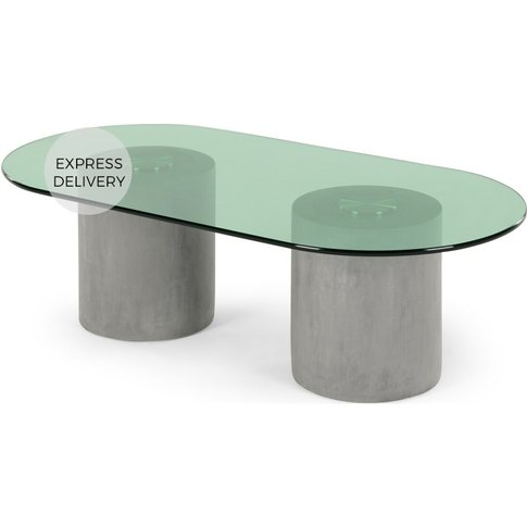 Calvin Coffee Table, Concrete, Brushed Stainless Ste...