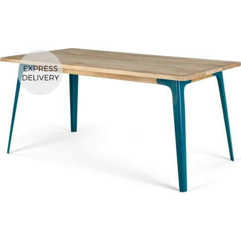 Edny 6 Seat Dining Table, Light Mango Wood and Teal