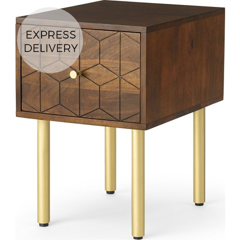 Hedra Bedside Table, Mango Wood & Brass