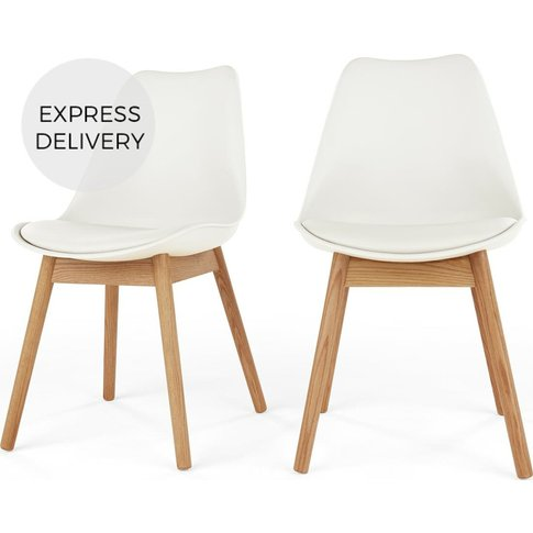 Set of 2 Thelma Dining Chairs, Oak and White