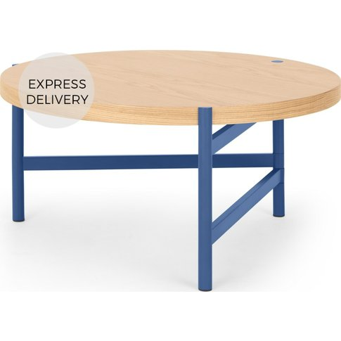 Made Essentials Benn Coffee Table, Oak And Blue