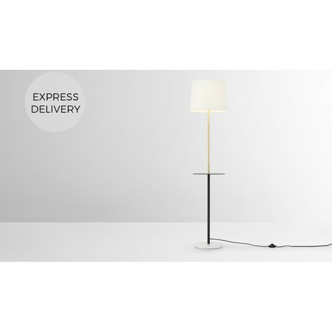Leto Floor Lamp With Table, Black Brass And White Ma...