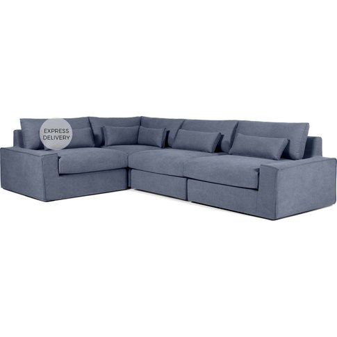 Trent Loose Cover Corner Sofa, Washed Blue Cotton