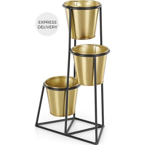 Ilex 3 Tier Metal Planter With Pots, Black With Bras...