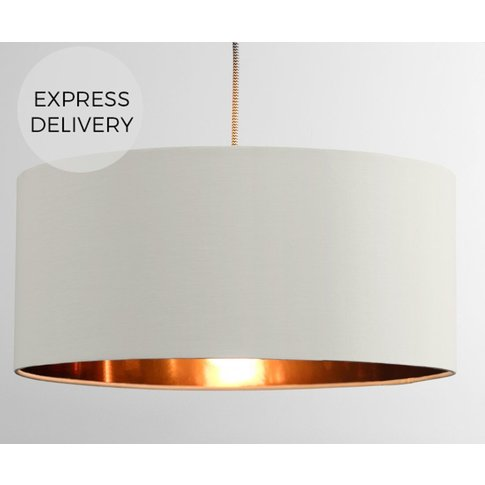 Oro Pendant Lamp Shade, White Clay And Copper