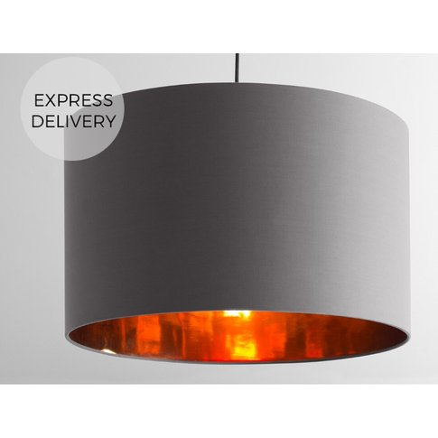 Oro Extra Large Pendant Drum Lamp Shade, Grey And Co...