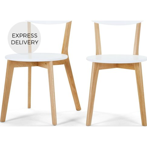 Set Of 2 Fjord Dining Chairs, Oak And White