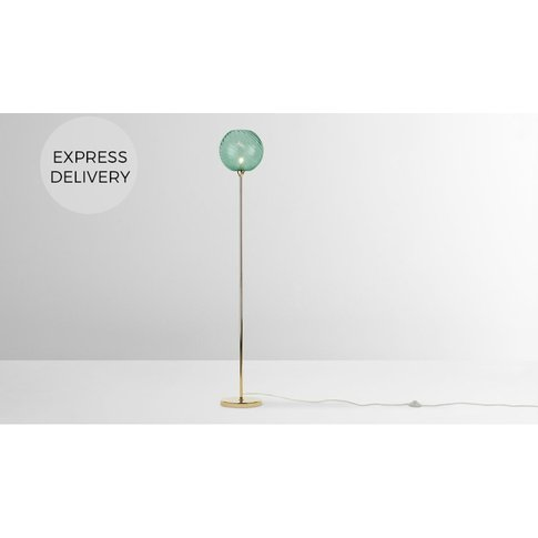 Ilaria Floor Lamp, Brass And Blue Glass