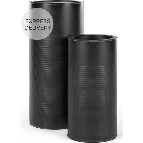 Dayo Set Of Two Tall Ribbed Planters, Black