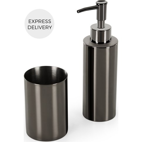 Lilo Soap Dispenser and Tumbler Set, Black Nickel