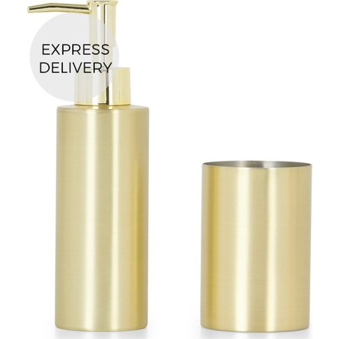 Lilo Soap Dispenser & Tumbler Set, Brushed Brass