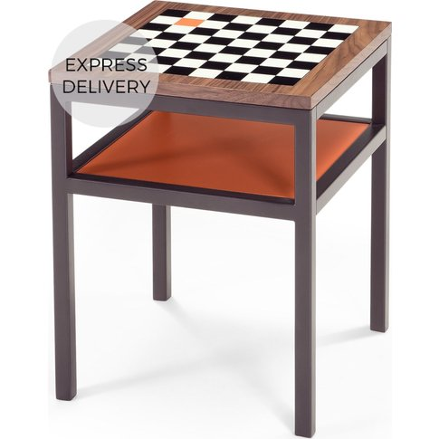 Contrast Chess Side Table, Walnut and Orange