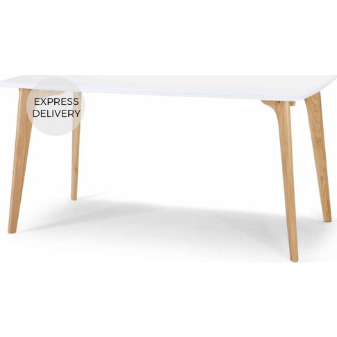 Fjord 6 Seat Rectangle Dining Table, Oak And White