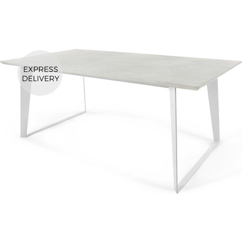Boone 6 Seat Dining Table, White Concrete Resin Top