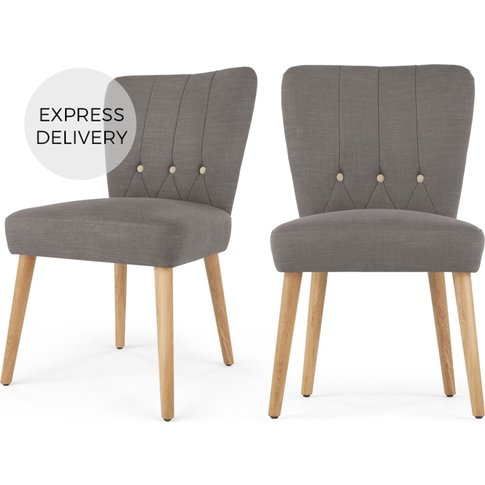 Set Of 2 Charley Dining Chairs, Graphite Grey And Oak