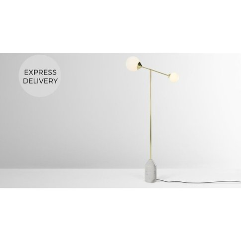 Faye Floor Lamp, Brass and Marble