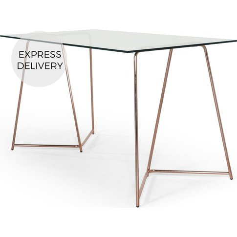 Patrizia Desk, Copper And Clear Glass