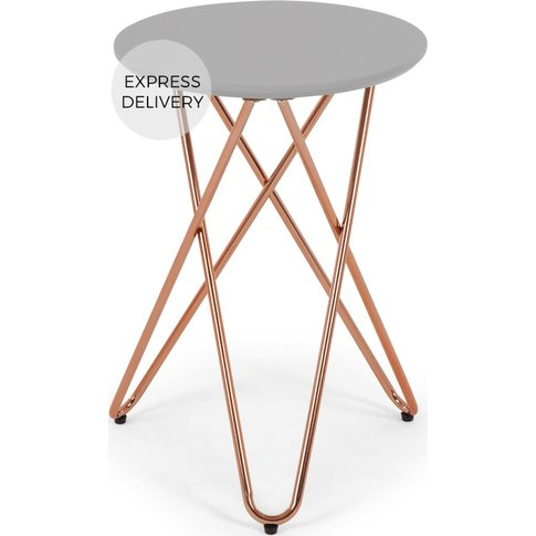 Eibar Side Table, Grey And Copper