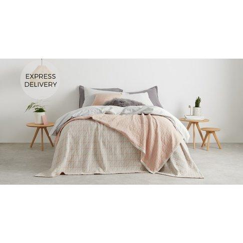 Inga 100% Cotton Stonewashed Bedspread 225x220cm, Grey & Blush Pink